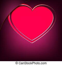 pink heart on a dark purple background with a corner