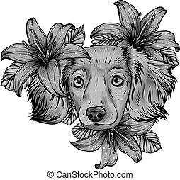 design of a Spaniel dog in a flower head wreath. Vector illustration.