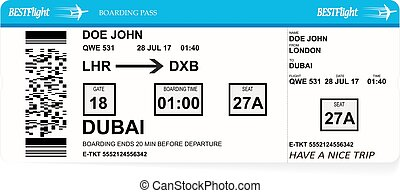 Design of aircraft boarding pass ticket.