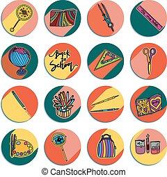 Design of back to school round logos.