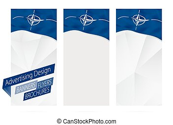 Design of banners, flyers, brochures with flag of Nato....
