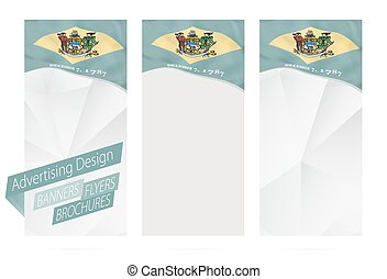 Design of banners, flyers, brochures with Delaware State Flag.