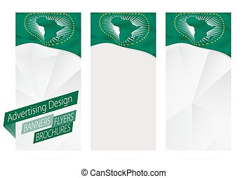 Design of banners, flyers, brochures with flag of African Union.