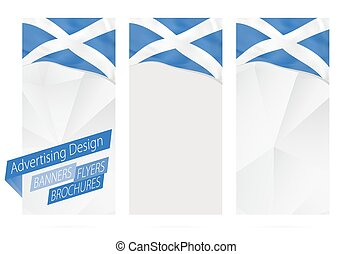 Design of banners, flyers, brochures with flag of Scotland.