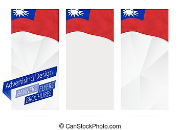 Design of banners, flyers, brochures with flag of Taiwan.
