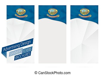 Design of banners, flyers, brochures with Idaho State Flag.