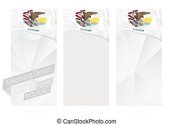 Design of banners, flyers, brochures with Illinois State Flag.