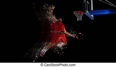 design of basketball player in action