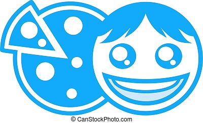 blue happy face and pizza symbol