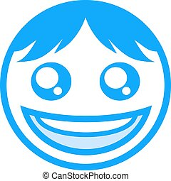 blue happy face icon