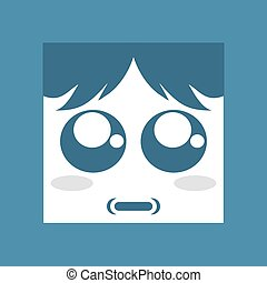 blue surprised face icon