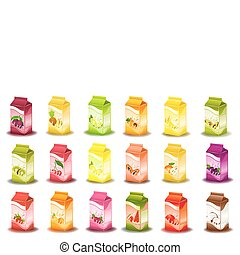 design of bottle milky products with fruit - vector illustration
