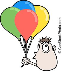 boy with color balloons