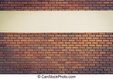 design of brick wall background with cement white line