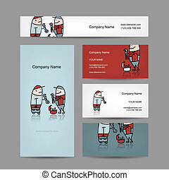 Design of business cards with workers people