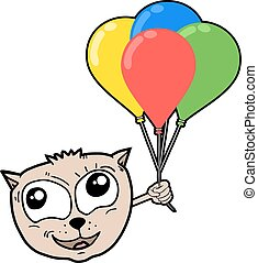 cat with color balloons