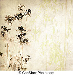 design of chinese bamboo trees with texture of handmade ...