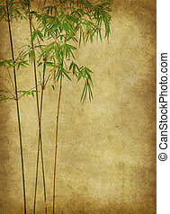 design of chinese bamboo trees with texture of handmade...