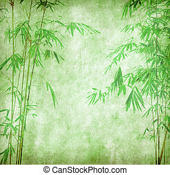 design of chinese bamboo trees with texture of handmade paper