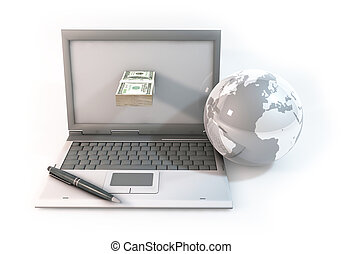 Design of Concept 3d abstract Business online about Computer with 100 dollar bill and world on white Background
