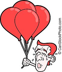 cry face with red balloons