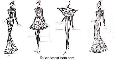 design of dresses based on architecture column - sketch of...