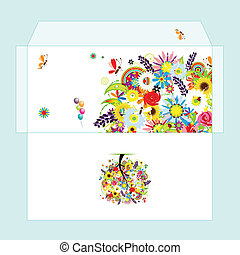 Design of envelope with floral tree