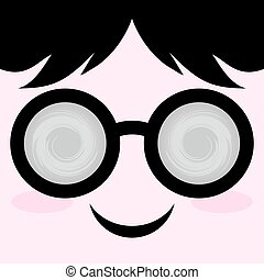 face with circle glasses