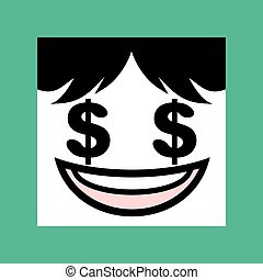face with dollar eyes icon