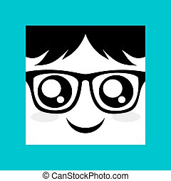 face with glasses icon