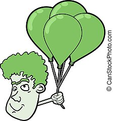 face with green balloons