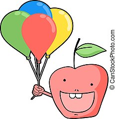 funny apple with color balloons