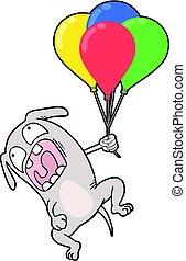 funny dog with color balloons