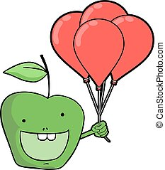 funny green apple with balloons