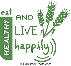 green eat live happy message