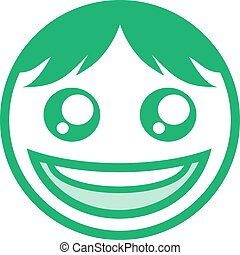 green happy face icon