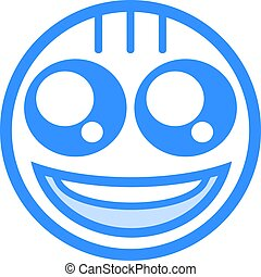 happy blue face flat icon