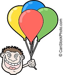happy boy with color balloons