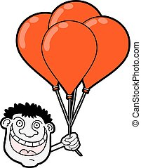 happy boy with red balloons