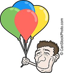 happy face wit color balloons