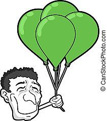 happy face wit green balloons