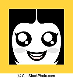 happy gril face icon