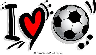 Design of I love soccer graffiti