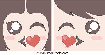 kissing couple faces