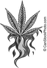 design of leaf hemp from red flame vector illustration