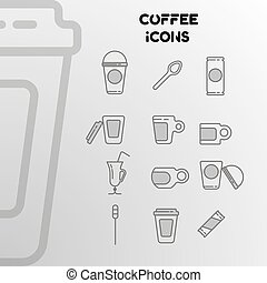 Design of linear icons on the coffee theme.