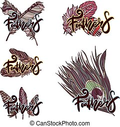 Design of logos with feathers.