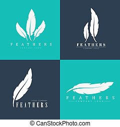 Design of logos with feathers. Templates for writers, book publishers and businesses