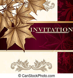 Design of luxury invitation card in vintage style with maple...