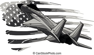 design of Military fighter jets with american flag. Vector illustration